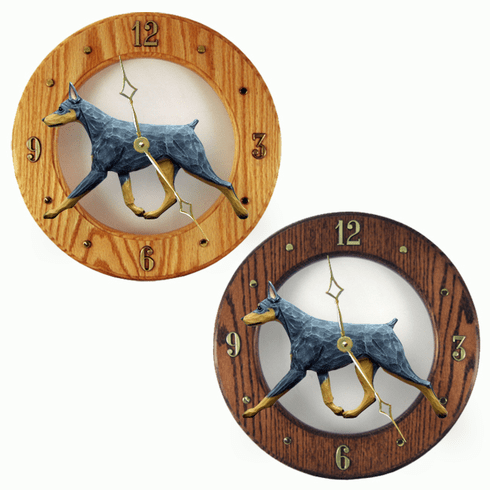 Doberman Wall Clock-Blue-Tan