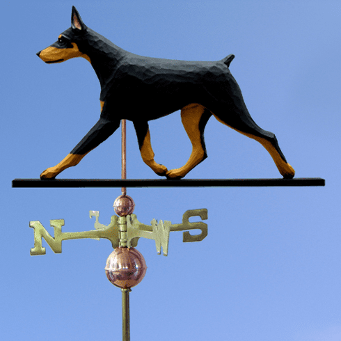 Doberman Weathervane-Black & Tan