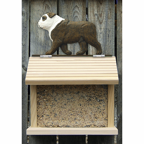 English Bulldog Bird Feeder-Brindle/White