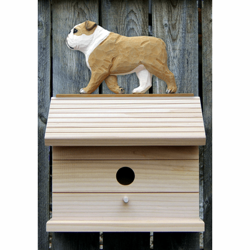 English Bulldog Bird House-Tan