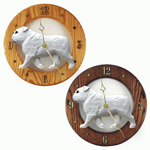 English Bulldog Wall Clock-White