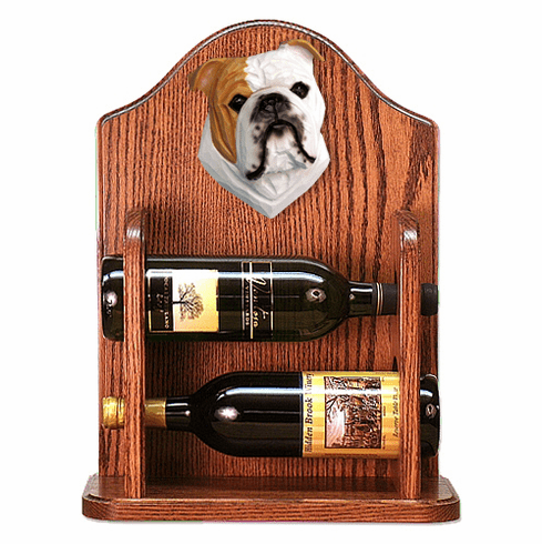 English Bulldog Wine Rack-Tan