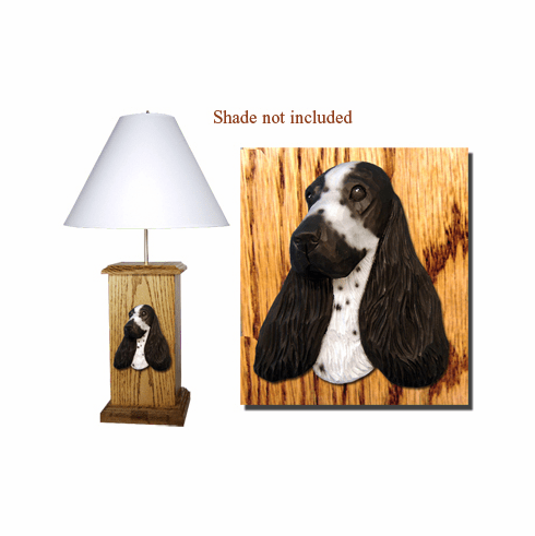 English Cocker Spaniel Wood Carved Table Lamp
