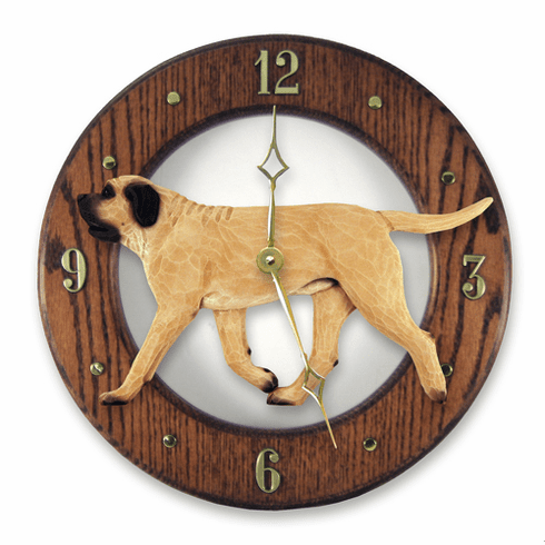 English Mastiff Solid Oak Wall Clock