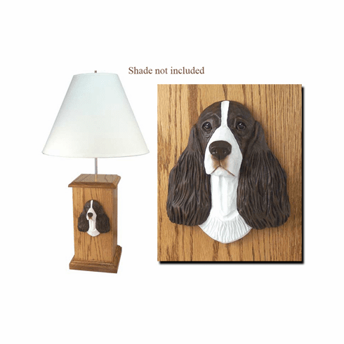 English Springer Spaniel Wood Carved Table Lamp