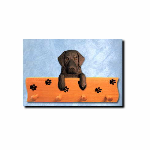 Flat Coated Retriever Dog Four-Peg Hang Up