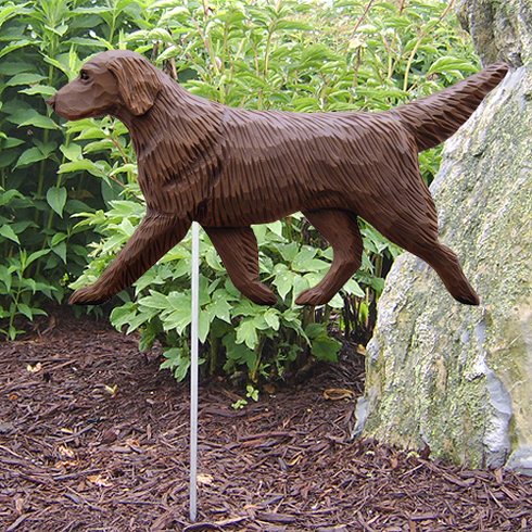 Flat Coated Retriever Garden Stake-Liver
