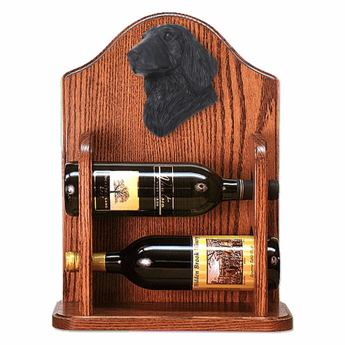 Flat Coated Retriever Wine Rack -Black