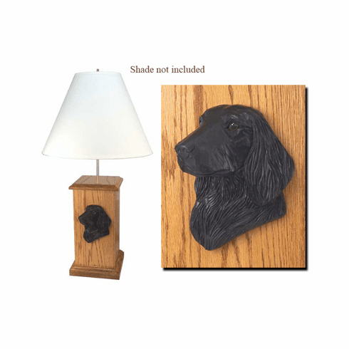 Flat Coated Retriever Wood Carved Table Lamp