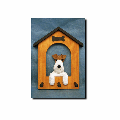 Fox Terrier Wirehair Dog House Leash Holder