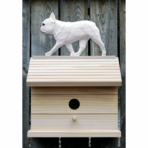 French Bulldog Bird House-White