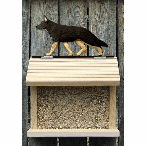 German Shepherd Bird Feeder-Black w/ Tan Point