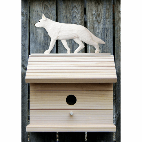 German Shepherd Bird House-White