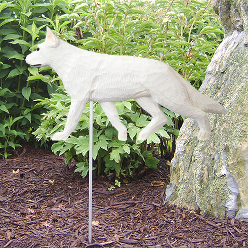 German Shepherd Garden Stake-White