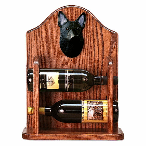 German Shepherd Wine Rack-Black