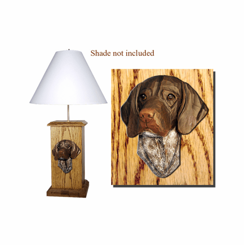 German Shorthaired Pointer Wood Carved Table Lamp
