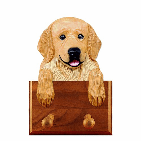 Golden Retriever Pet Pose Walnut Dog Leash Holder