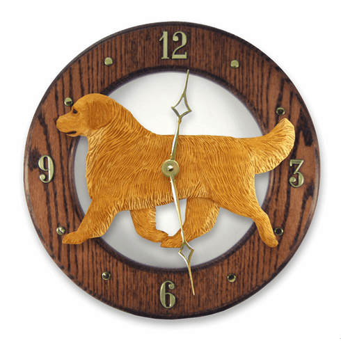 Golden Retriever Show Oak Wall Clock