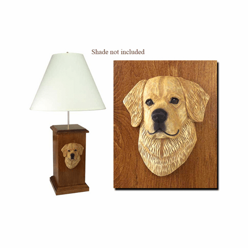 Golden Retriever Wood Carved Table Lamp