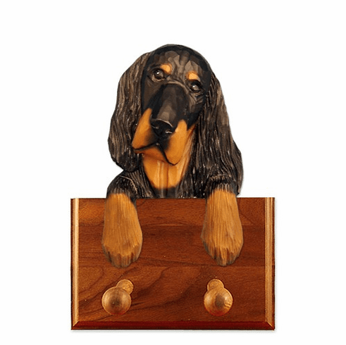 Gordon Setter Walnut Dog Leash Holder