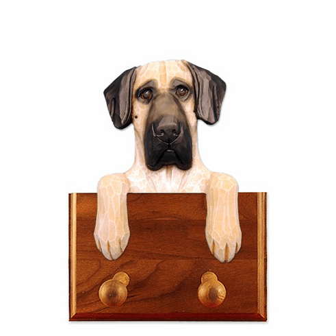 Great Dane Natural Ears Walnut Dog Leash Holder