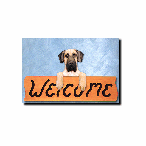 Great Dane Natural Ears Welcome Sign
