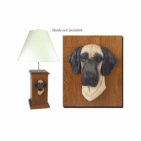 Great Dane Natural Ears Wood Carved Table Lamp