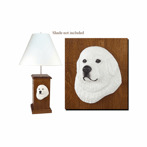 Great Pyrenees Wood Carved Table Lamp