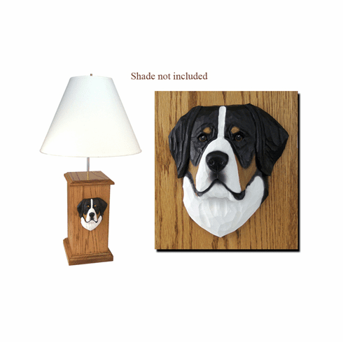 Greater Swiss Mountain Dog Wood Carved Table Lamp