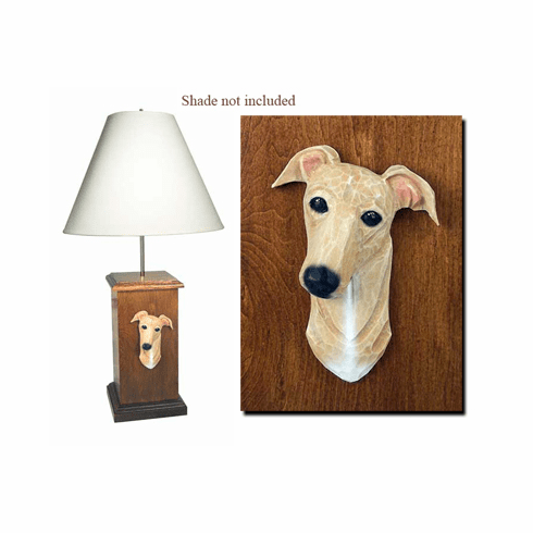 Greyhound Wood Carved Table Lamp
