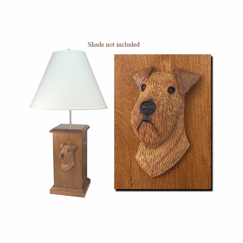 Irish Terrier Wood Carved Table Lamp