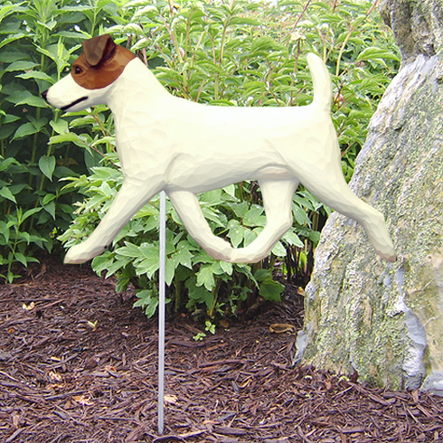 Jack Russell Terrier Garden Stake-Brown-White