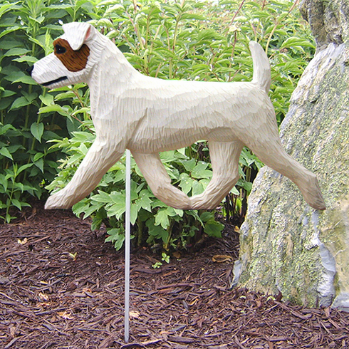 Jack Russell Terrier (rough) Garden Stake-Brown-White