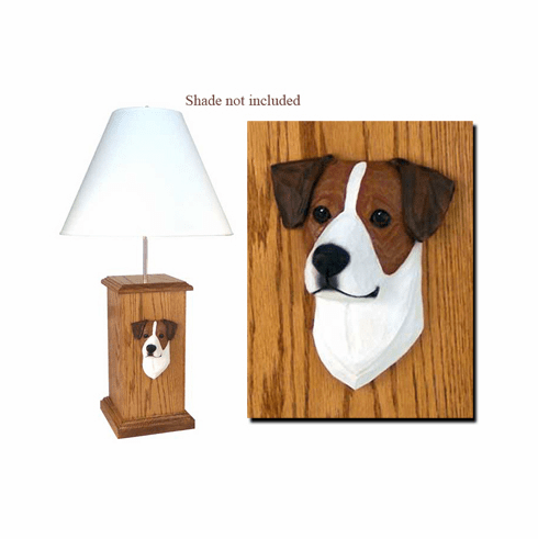 Jack Russell Terrier Wood Carved Table Lamp