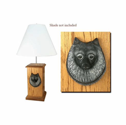 Keeshond Wood Carved Table Lamp