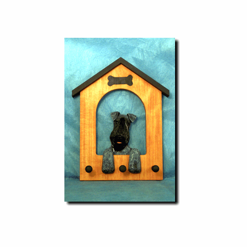 Kerry Blue Terrier Dog House Leash Holder
