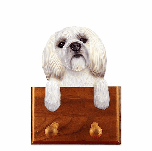 Lhasa Apso Puppy Clip Walnut Dog Leash Holder