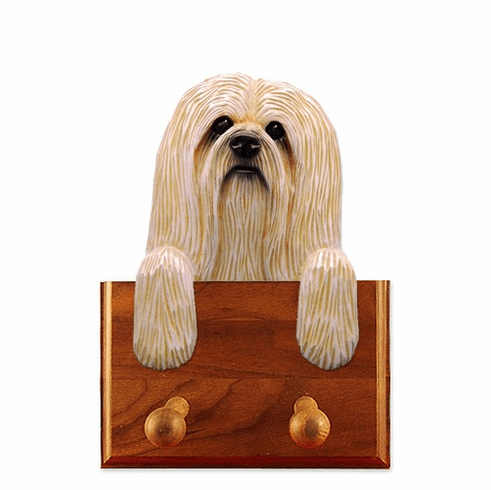 Lhasa Apso Walnut Dog Leash Holder