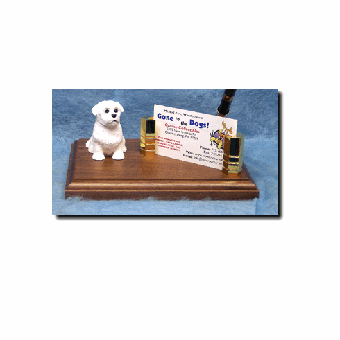 Maltese Puppy Clip Deluxe Desk Set