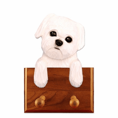Maltese Puppy Clip Walnut Dog Leash Holder
