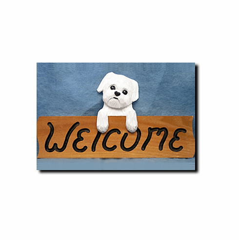 Maltese Puppy Clip Welcome Sign