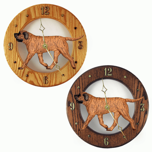 Mastiff Wall Clock-Apricot Brindle