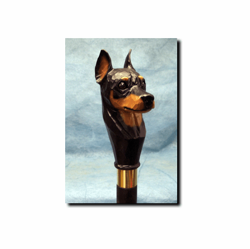 Miniature Pinscher Walking Stick, Hiking Staff