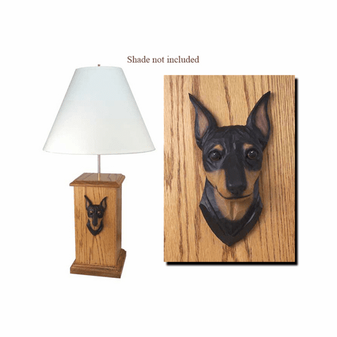 Miniature Pinscher Wood Carved Table Lamp
