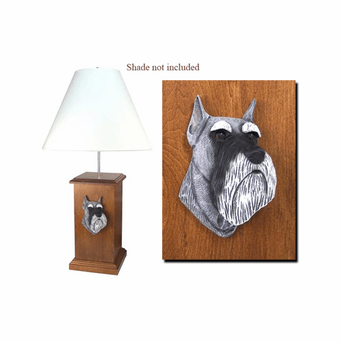 Miniature Schnauzer Wood Carved Table Lamp