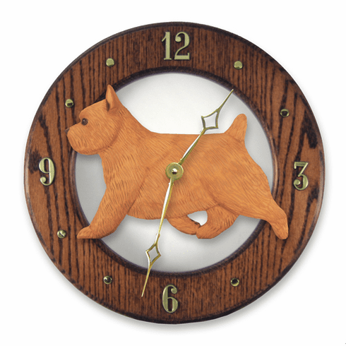 Norwich Terrier Solid Oak Wall Clock