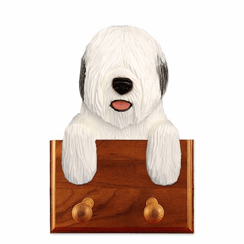 Old English Sheepdog Walnut Dog Leash Holder