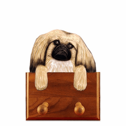 Pekingese Walnut Dog Leash Holder