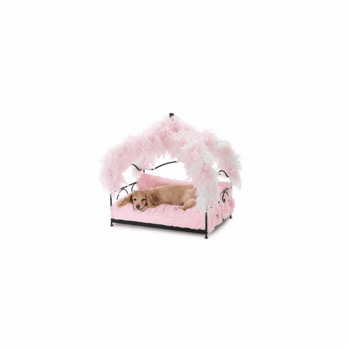 Pink Feather Canopy Pet Bed