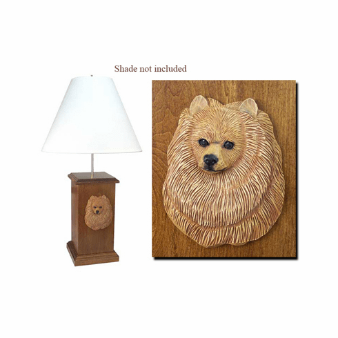 Pomeranian Wood Carved Table Lamp